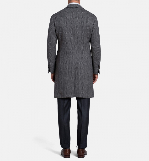 Bleecker Grey Herringbone Wool and Cashmere Coat