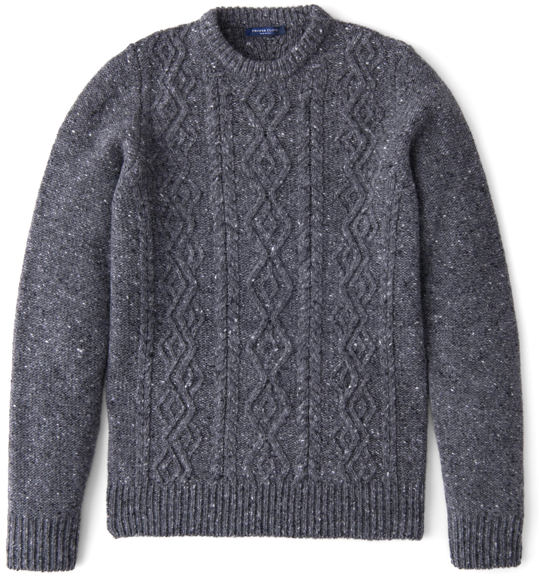 Zoom Image of Grey Donegal Wool and Cashmere Aran Sweater