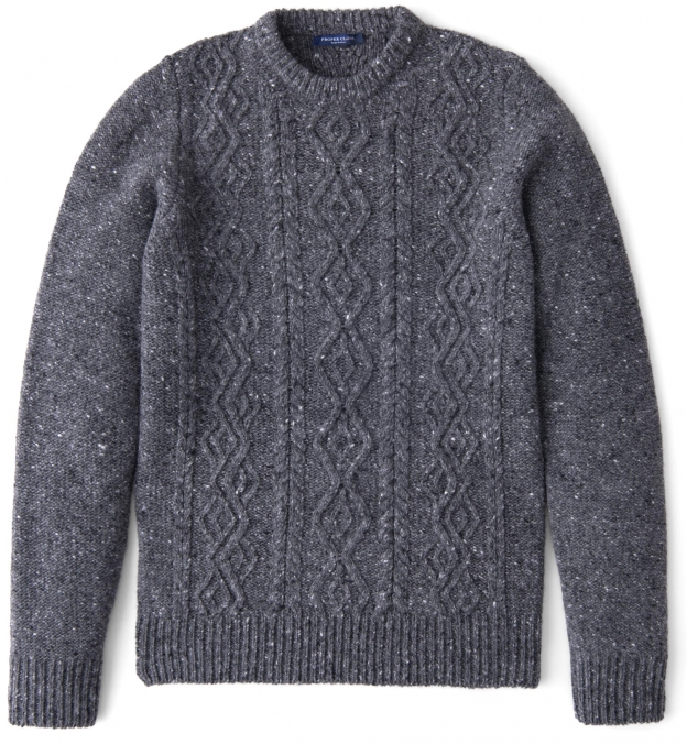 Grey Donegal Wool and Cashmere Aran Sweater