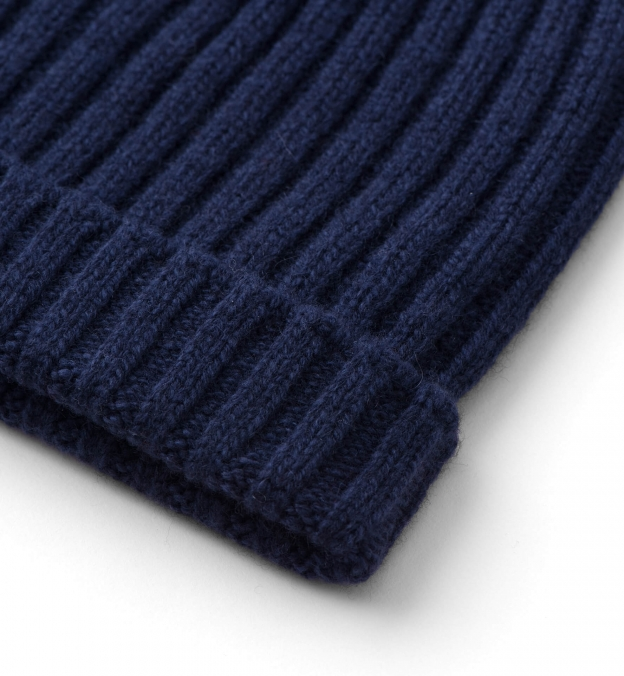 Light Navy Wool and Cashmere Italian Knit Hat