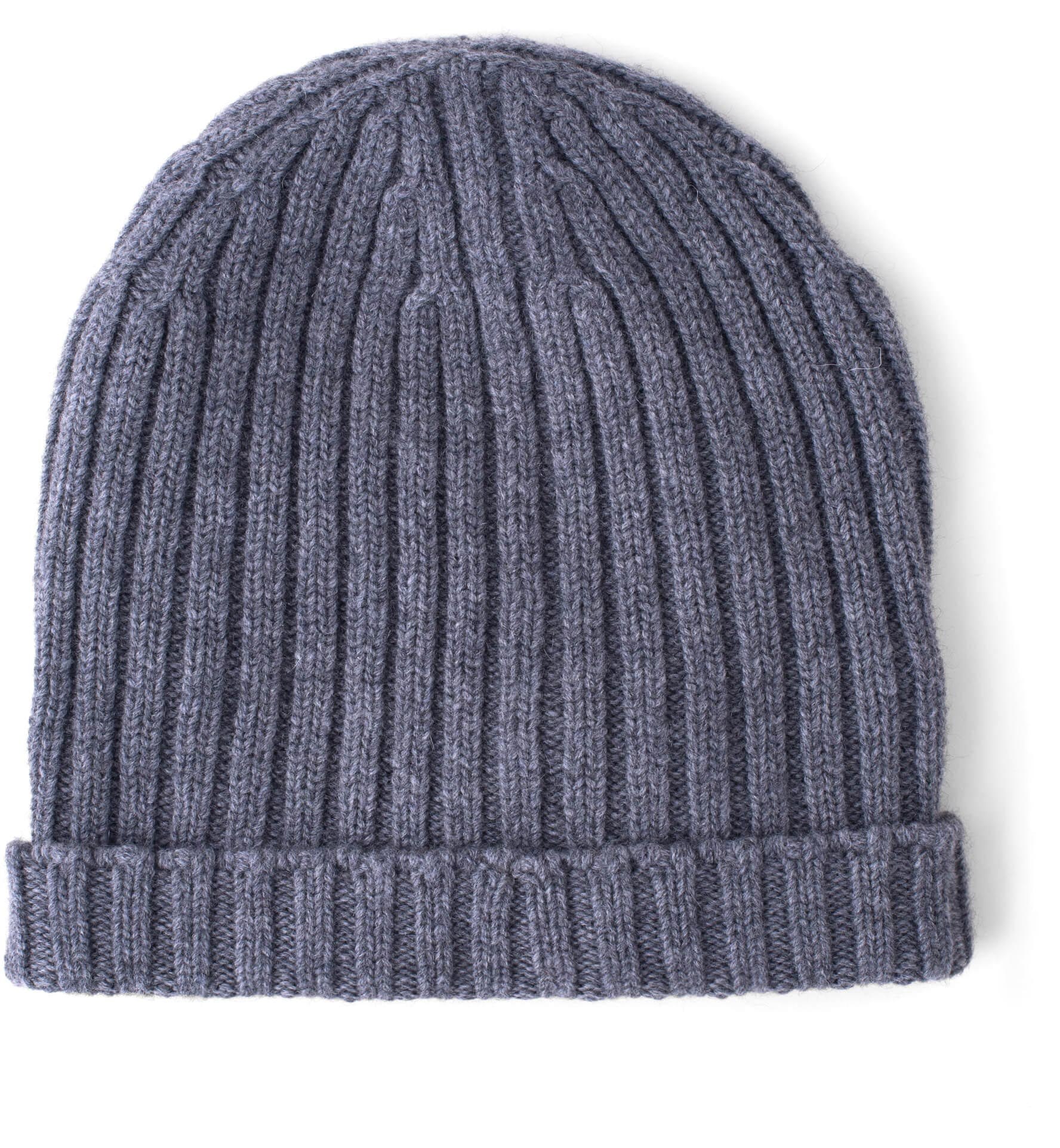 Zoom Image of Grey Wool and Cashmere Italian Knit Hat