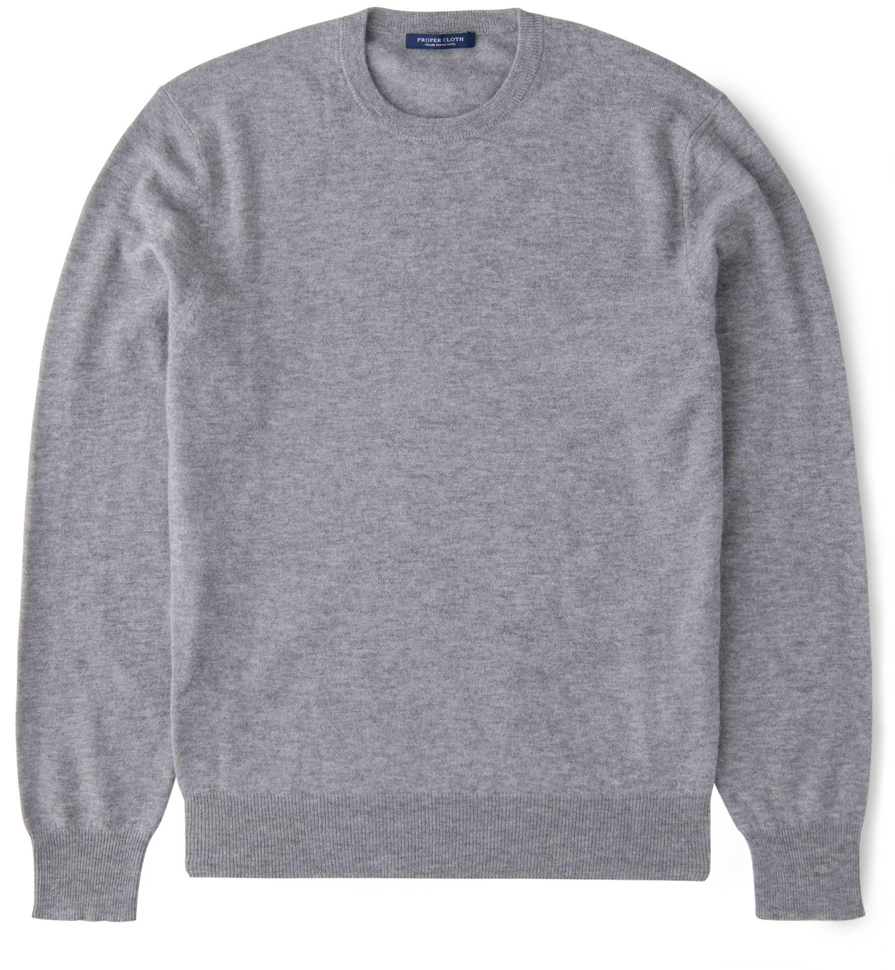 Zoom Image of Light Grey Melange Merino Crewneck Sweater