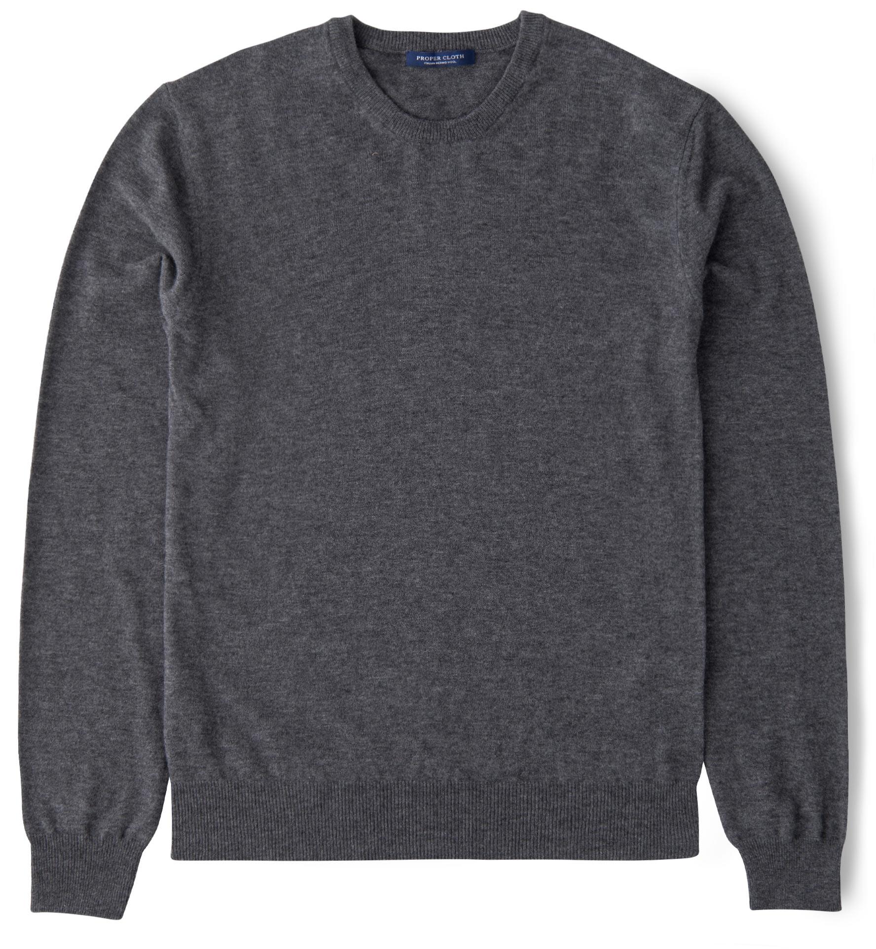 Zoom Image of Grey Melange Merino Crewneck Sweater
