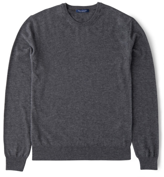Grey Melange Merino Crewneck Sweater
