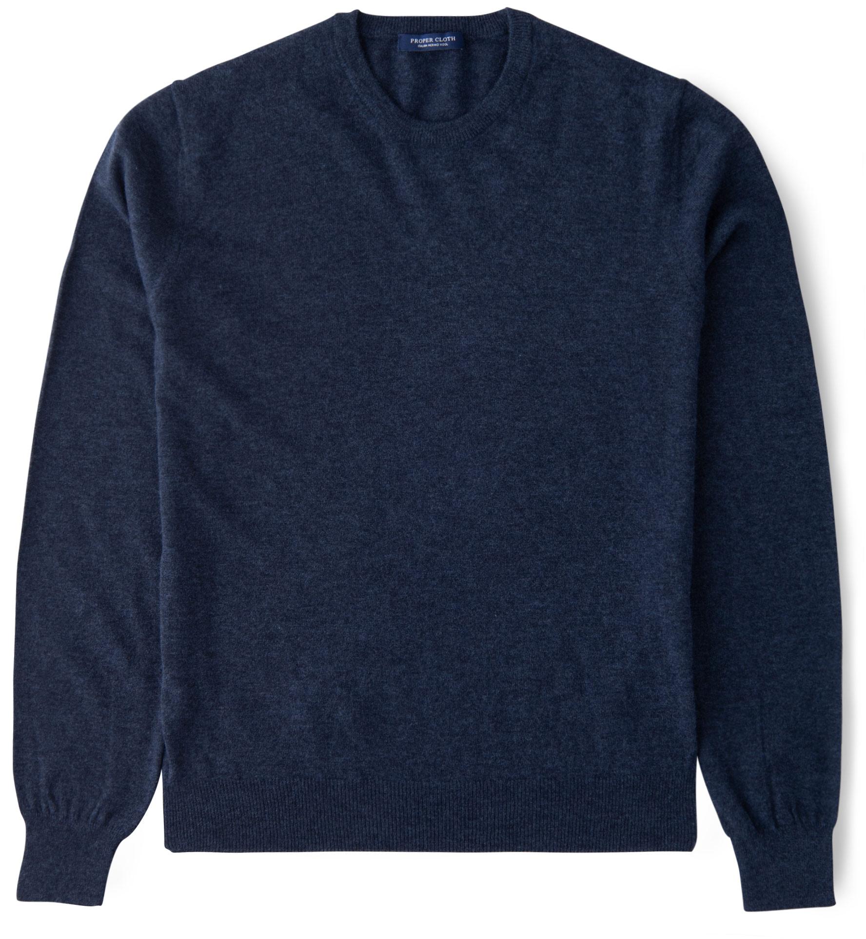 Zoom Image of Slate Blue Merino Crewneck Sweater