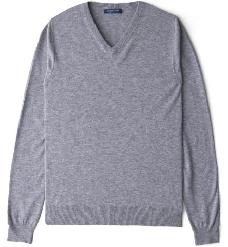 4ed8519a540 Light Grey Melange Merino V-Neck Sweater