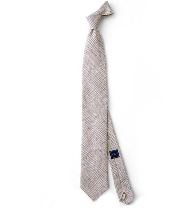 Beige Glen Plaid Linen Tie