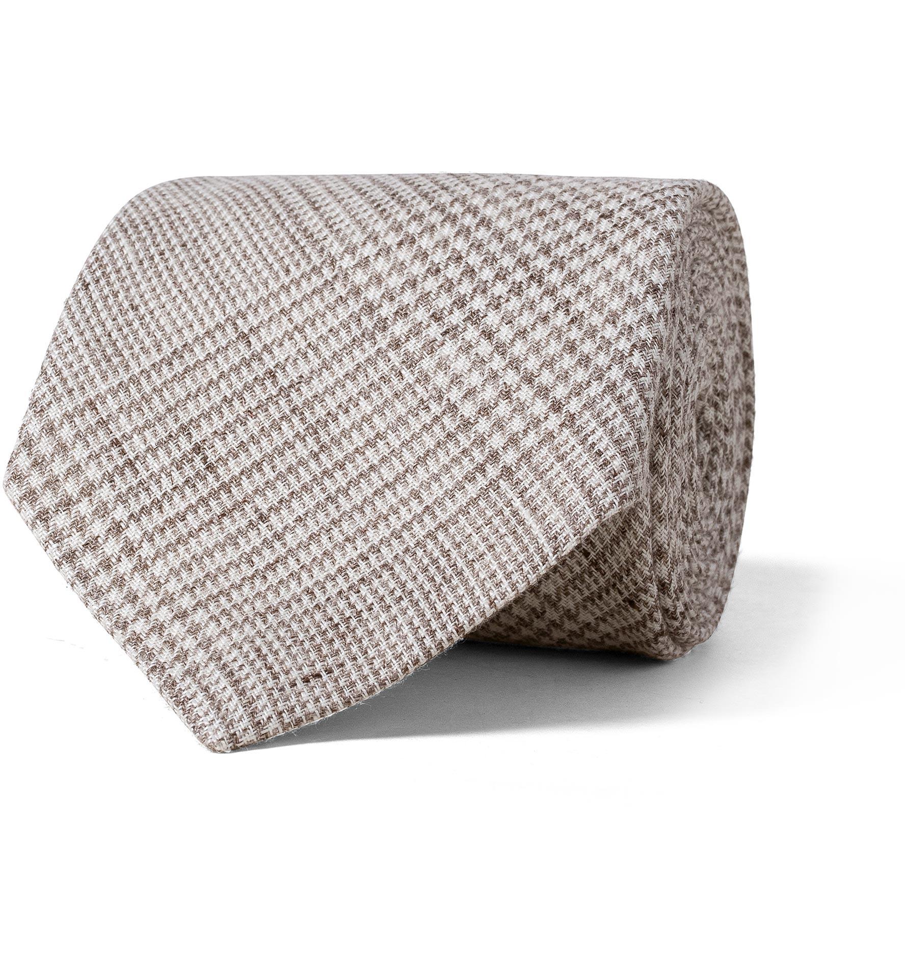 Zoom Image of Beige Glen Plaid Linen Tie