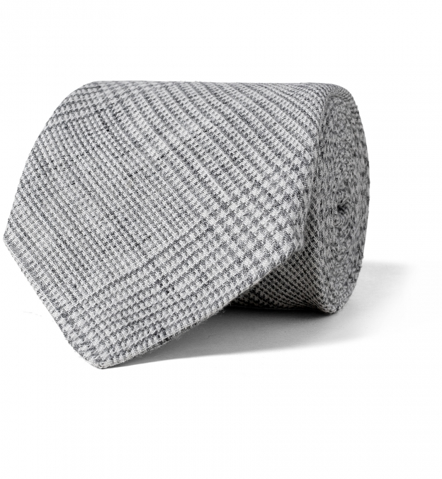 Grey Glen Plaid Linen Tie