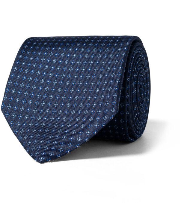 Navy and Light Blue Small Foulard Silk Tie