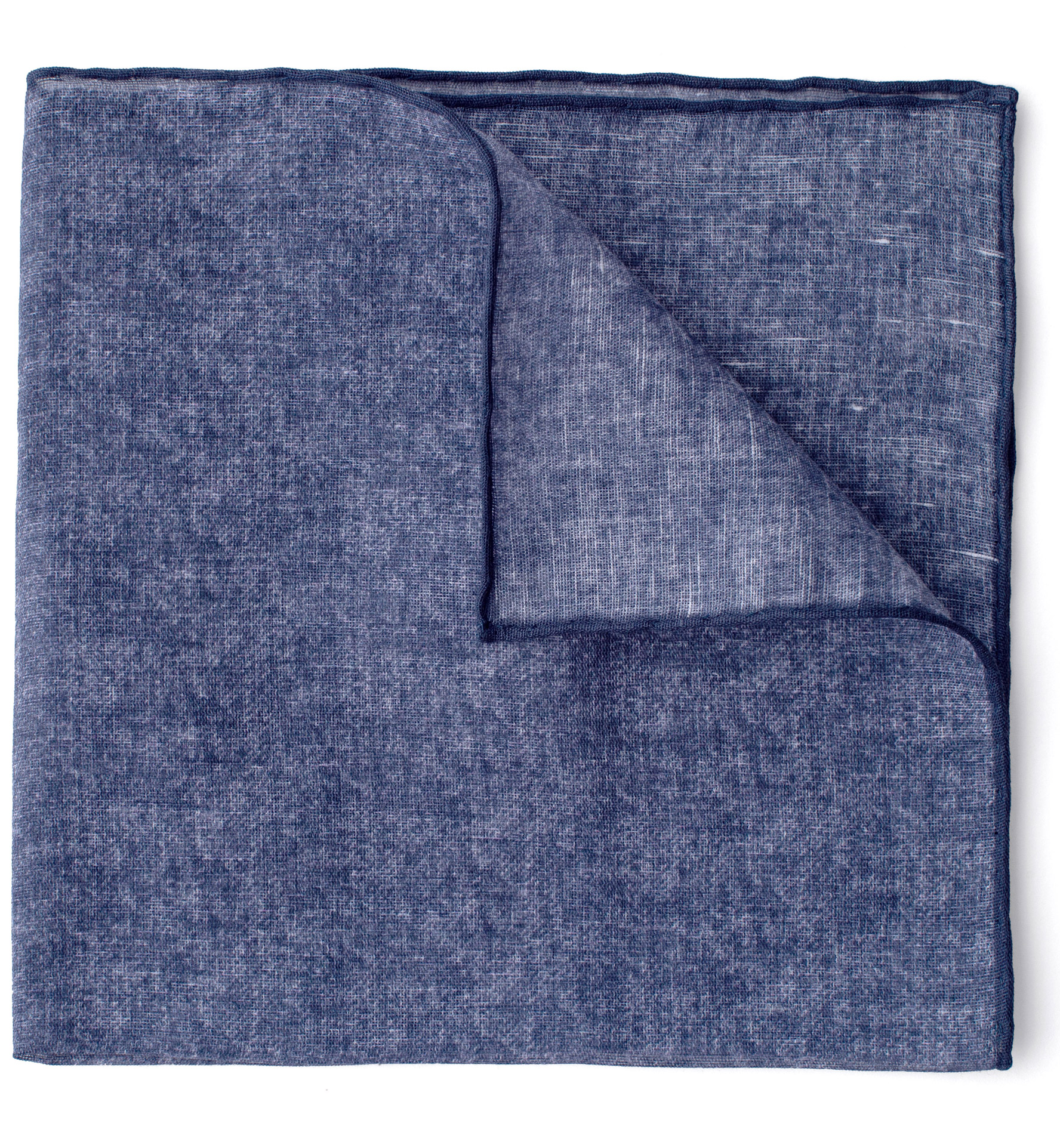 Zoom Image of Navy Tipped Tonal Cotton and Linen Pocket Square