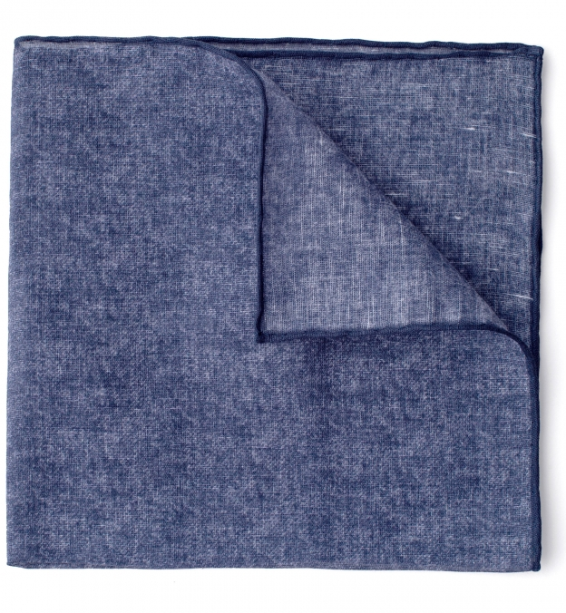 Navy Tipped Tonal Cotton and Linen Pocket Square