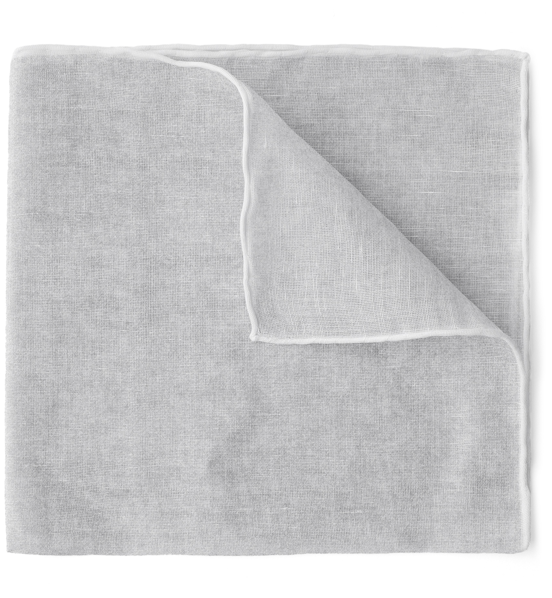 Zoom Image of White Tipped Light Grey Cotton and Linen Pocket Square