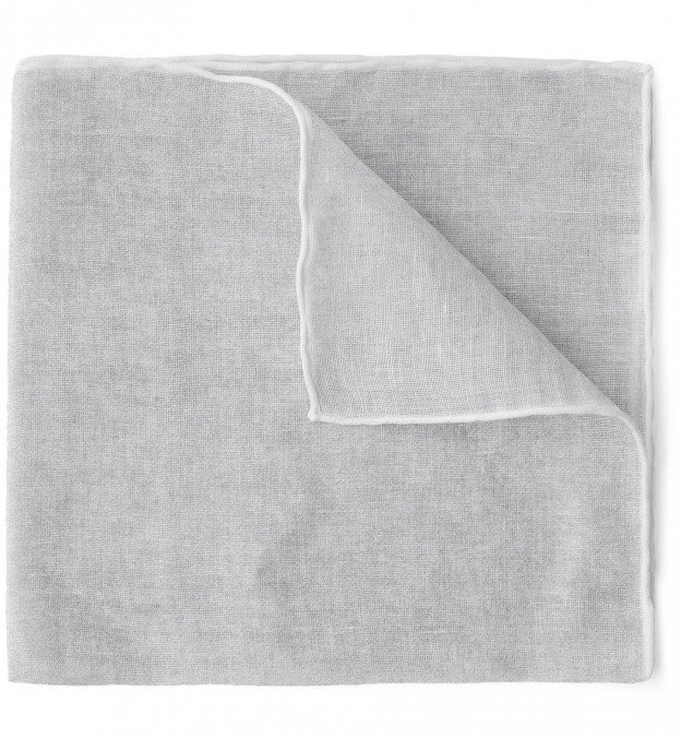 White Tipped Light Grey Cotton and Linen Pocket Square
