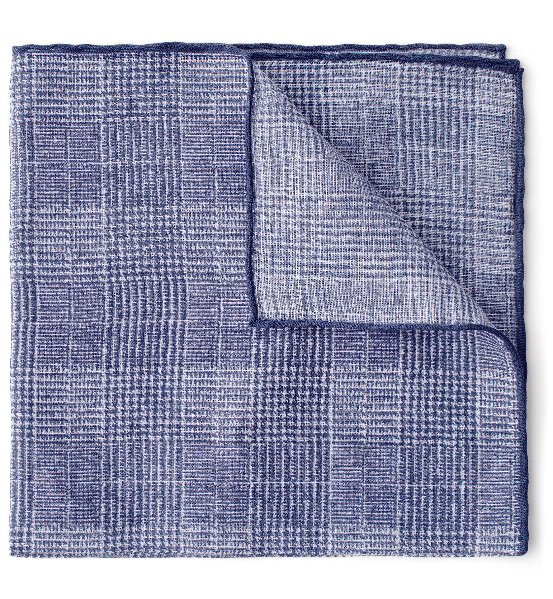 Zoom Image of Navy Tipped Glen Plaid Cotton and Linen Pocket Square