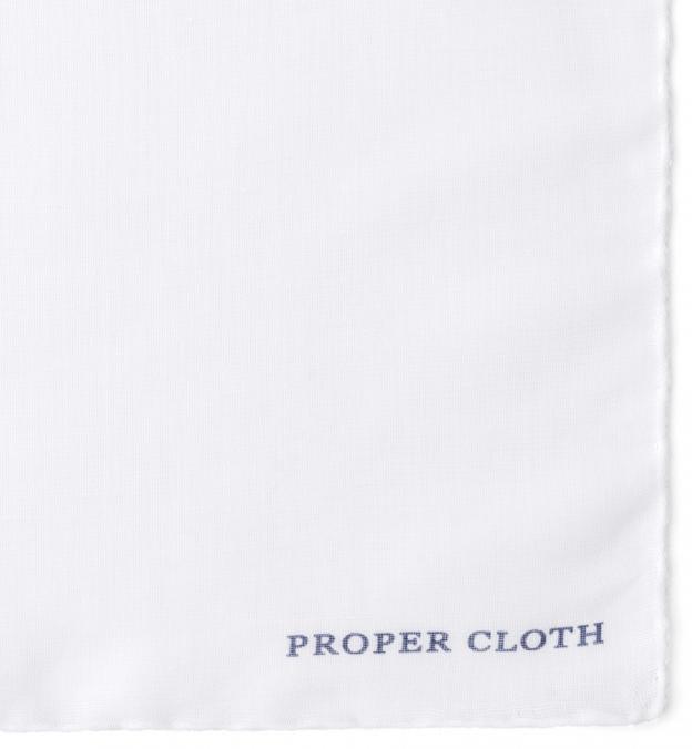 White Cotton and Linen Pocket Square