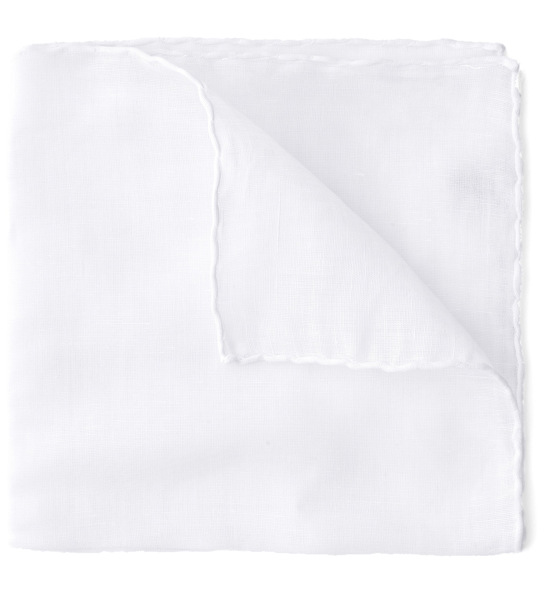 Zoom Image of White Cotton and Linen Pocket Square