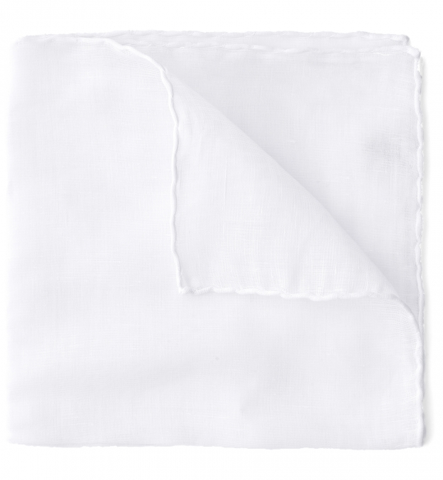 White Cotton and Linen Pocket Square