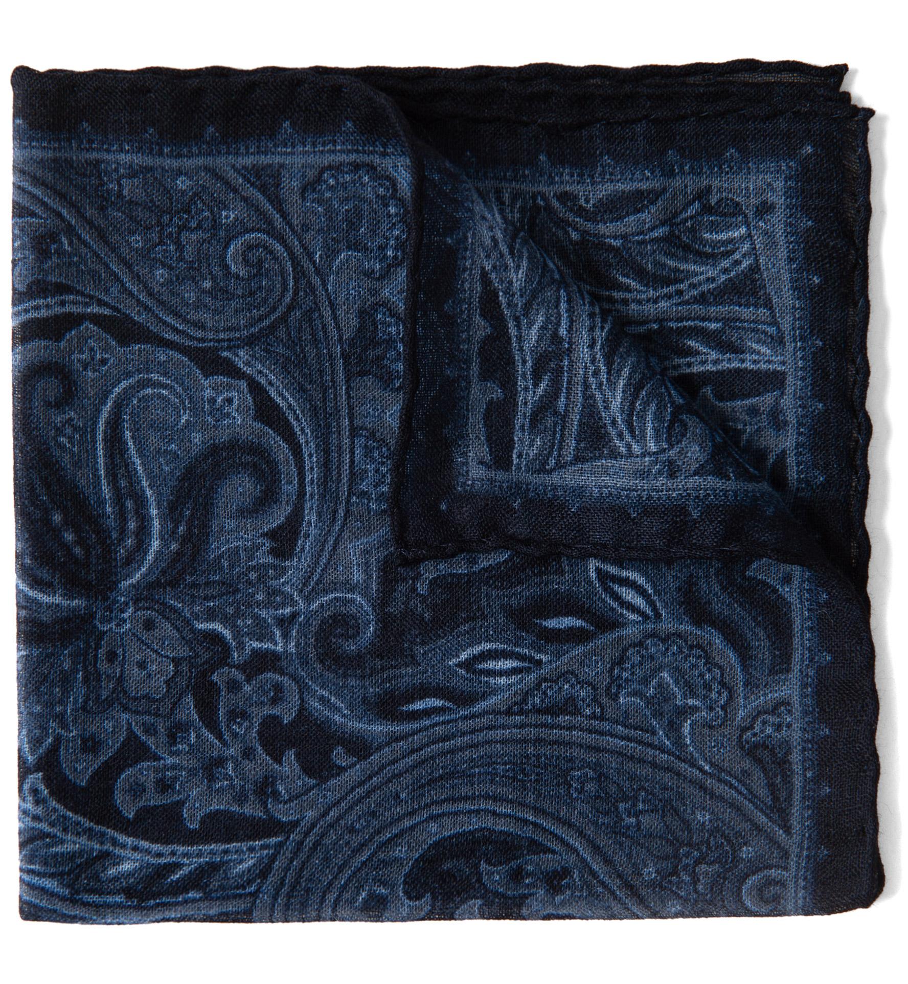 Zoom Image of Navy Paisley Gauze Wool Pocket Square