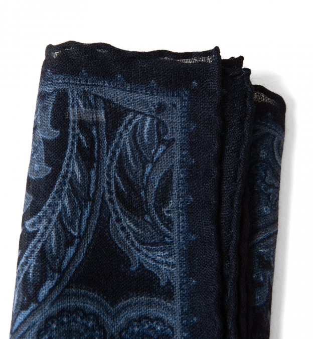 Navy Paisley Gauze Wool Pocket Square