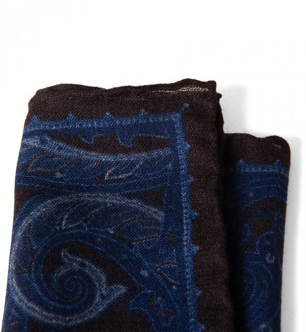 Navy and Brown Paisley Gauze Wool Pocket Square