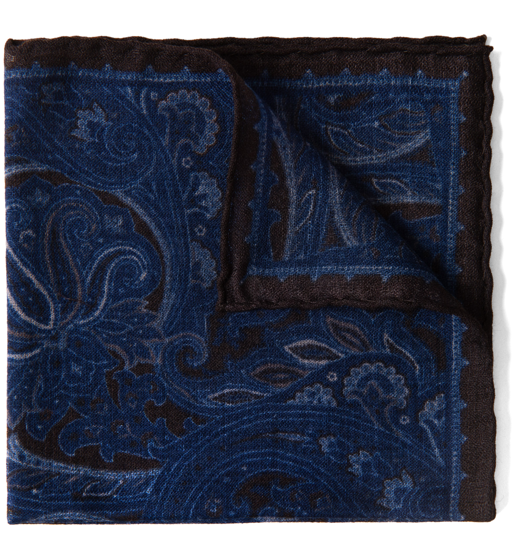 Zoom Image of Navy and Brown Paisley Gauze Wool Pocket Square