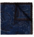 Navy and Brown Paisley Gauze Wool Pocket Square Product Thumbnail 1
