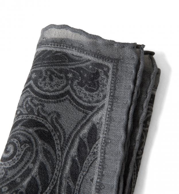 Grey Paisley Gauze Wool Pocket Square