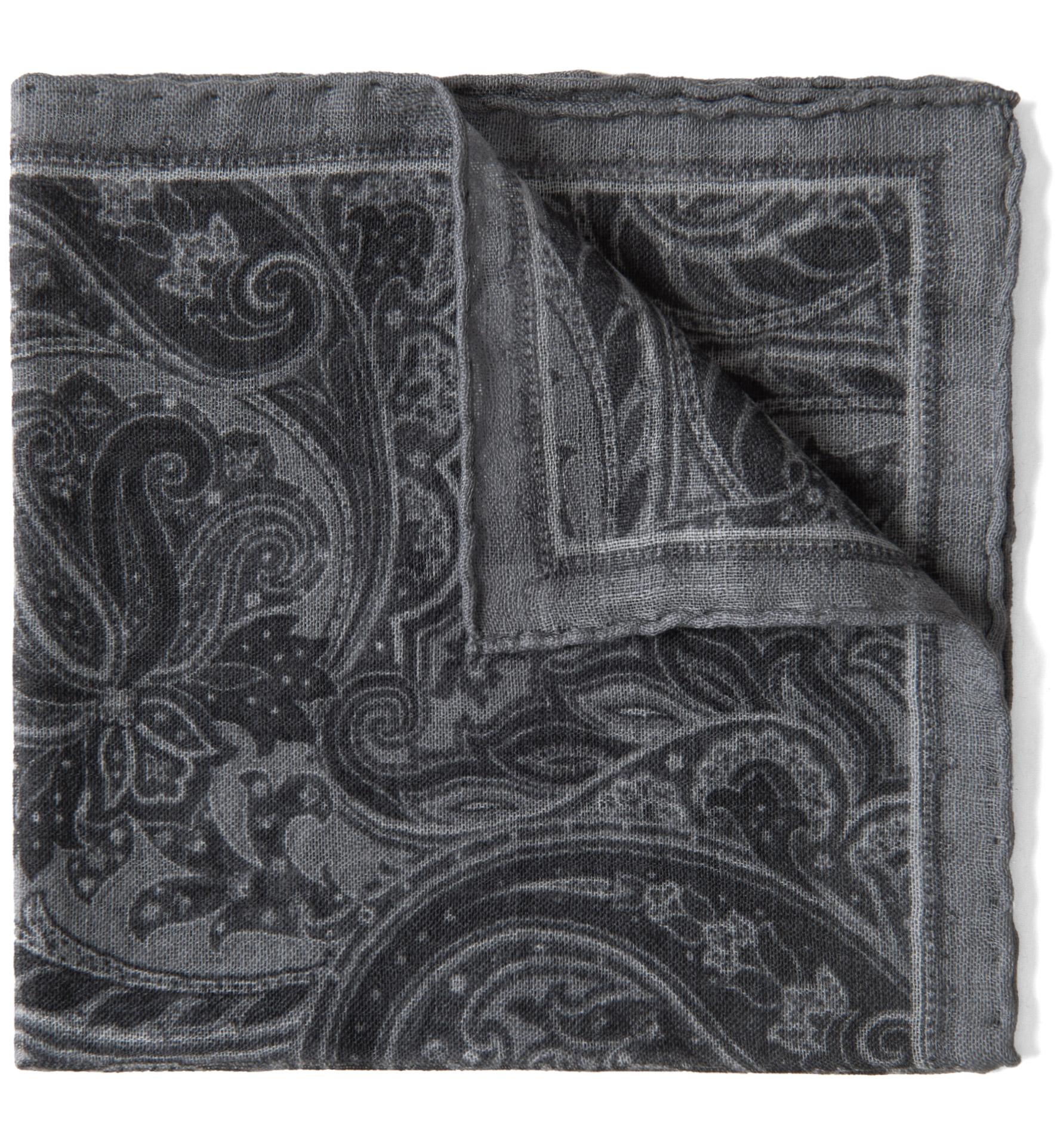 Zoom Image of Grey Paisley Gauze Wool Pocket Square