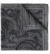 Grey Paisley Gauze Wool Pocket Square Product Thumbnail 1