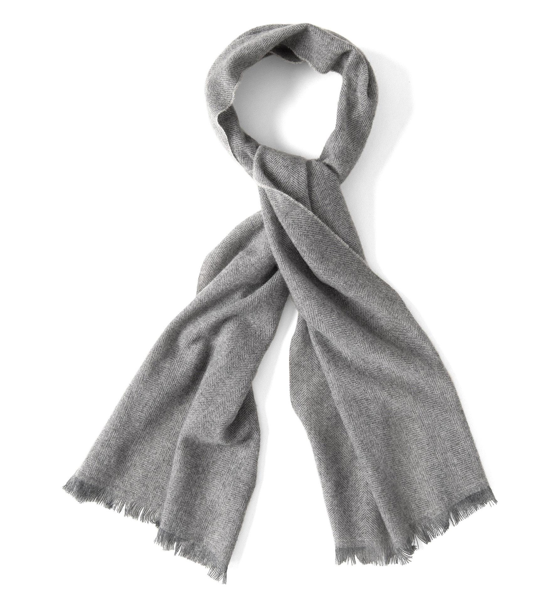 Zoom Image of Light Grey Cashmere Herringbone Scarf