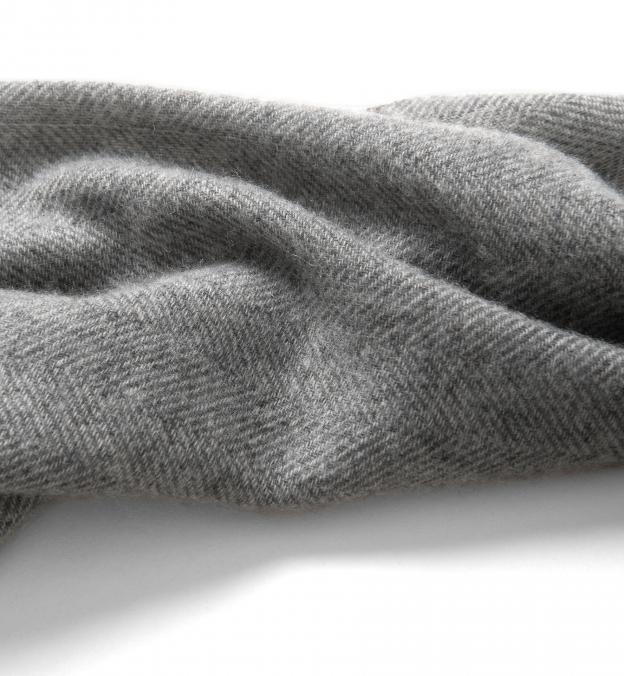 Light Grey Cashmere Herringbone Scarf