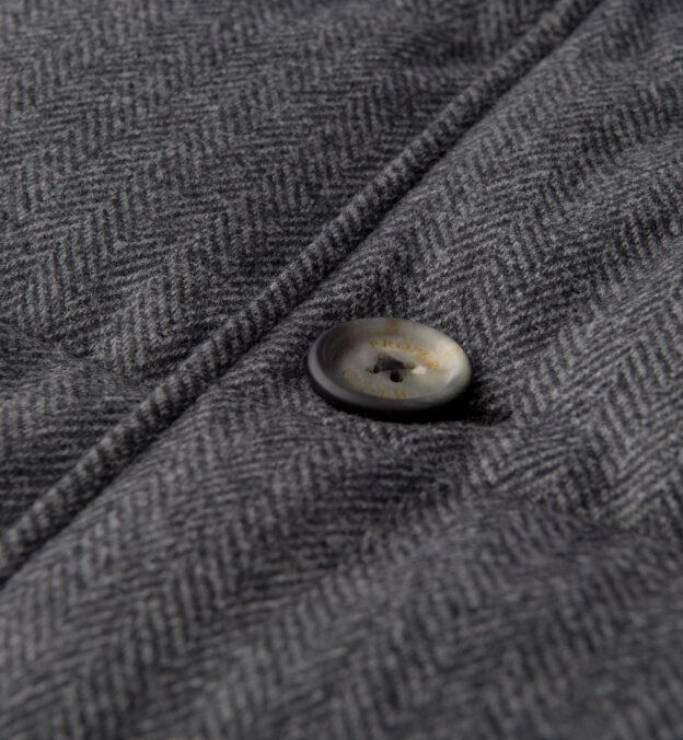 Cortina Grey Herringbone Wool Button Vest