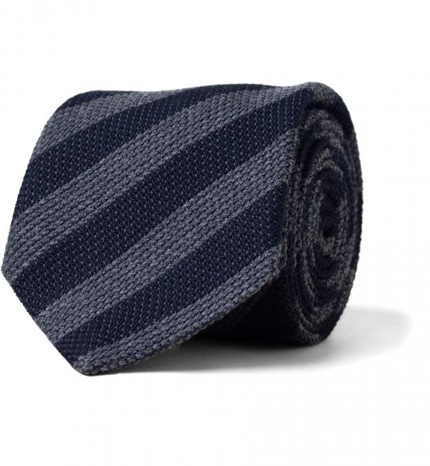 Navy and Grey Striped Wool Grenadine Tie
