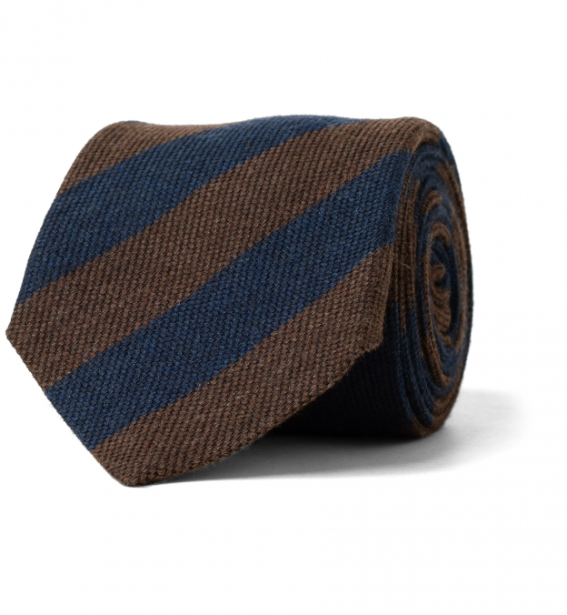 Chestnut and Navy Striped Wool Tie