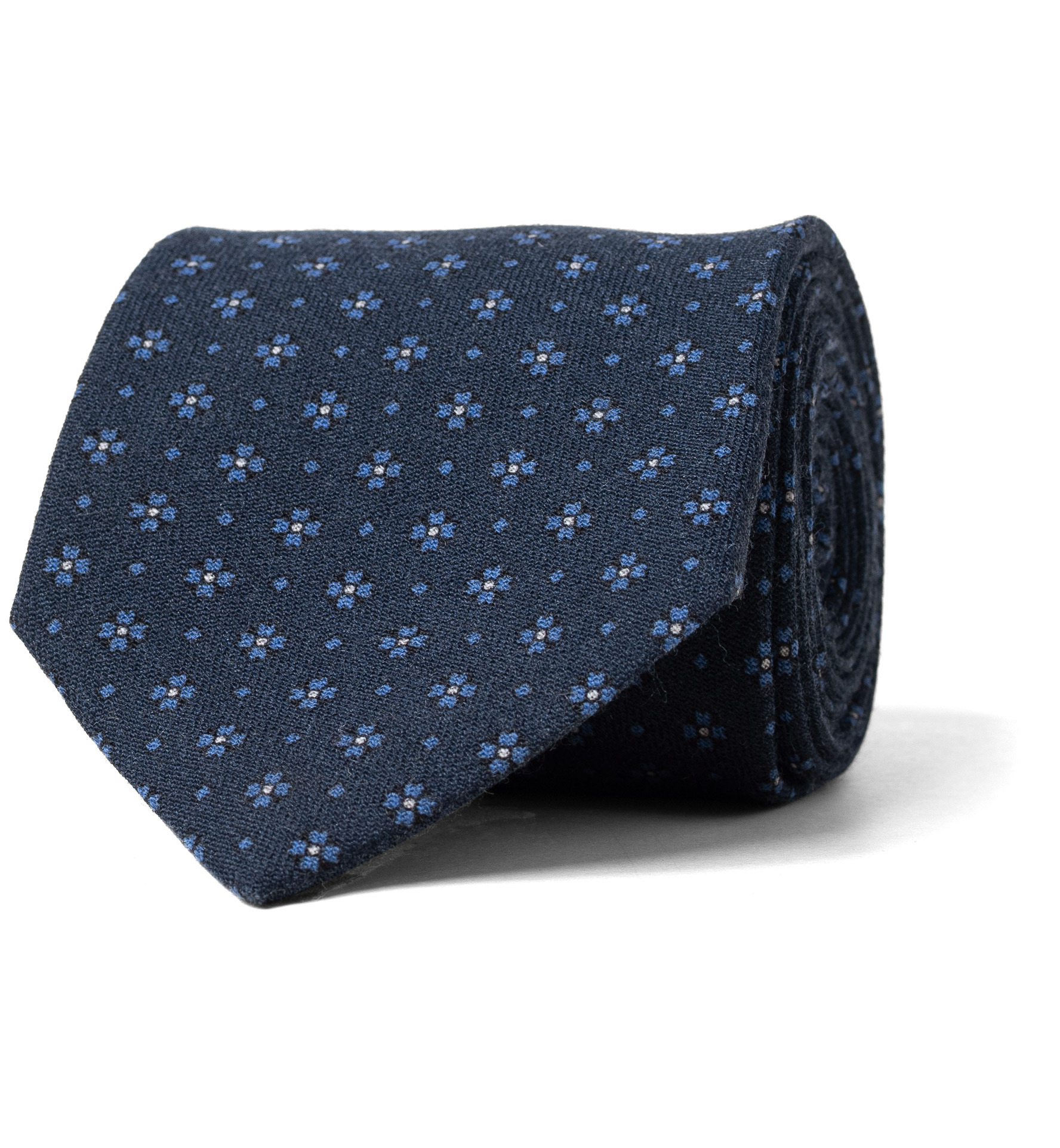 Zoom Image of Navy Foulard Wool Tie