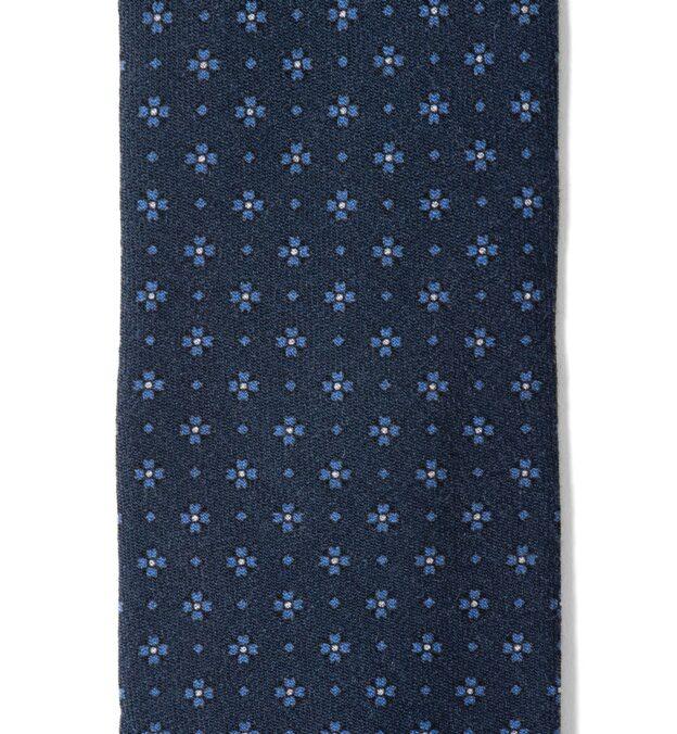 Navy Foulard Wool Tie