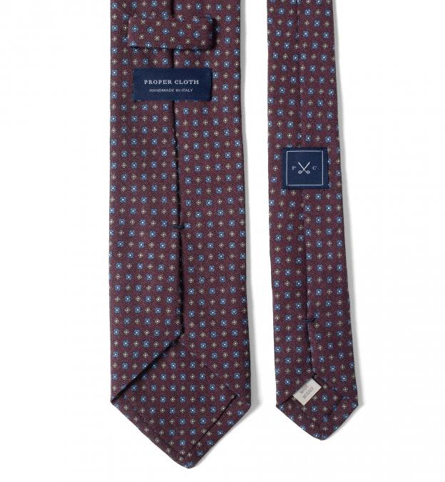 Burgundy Small Foulard Wool Tie
