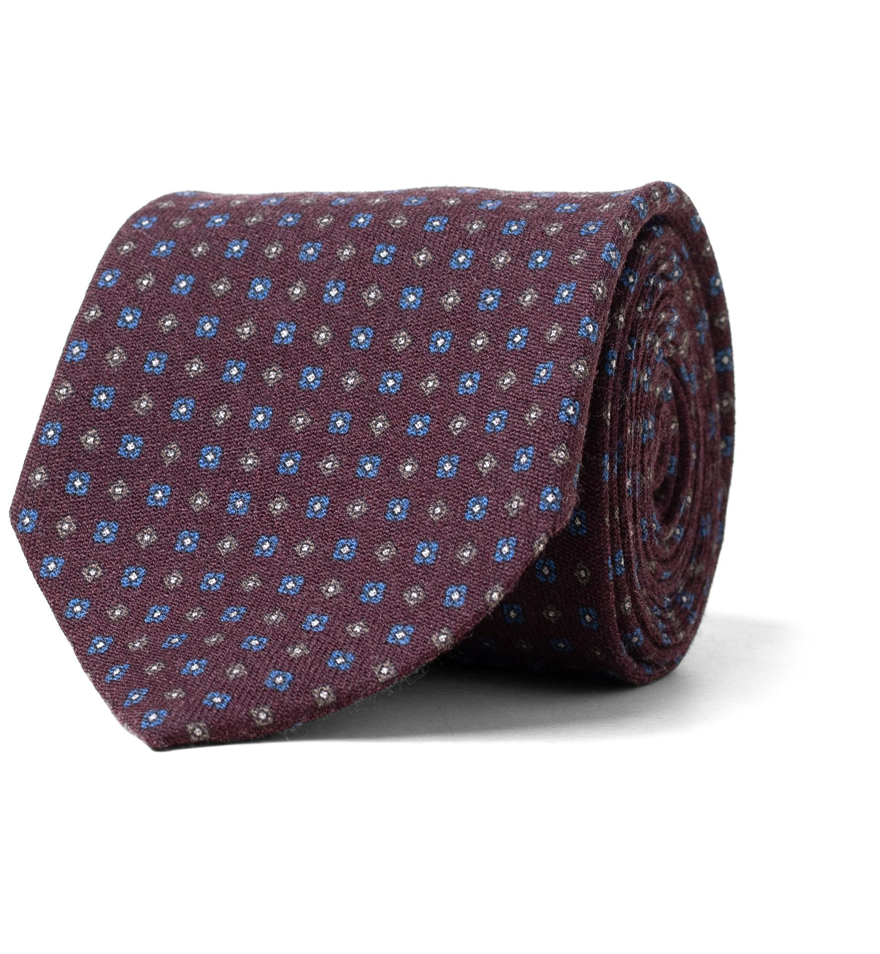Zoom Image of Burgundy Small Foulard Wool Tie