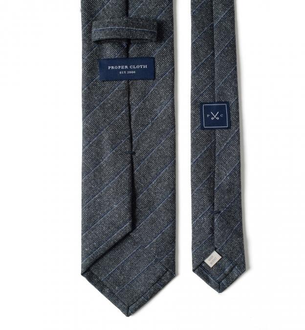 Grey Pinstripe Wool Tie