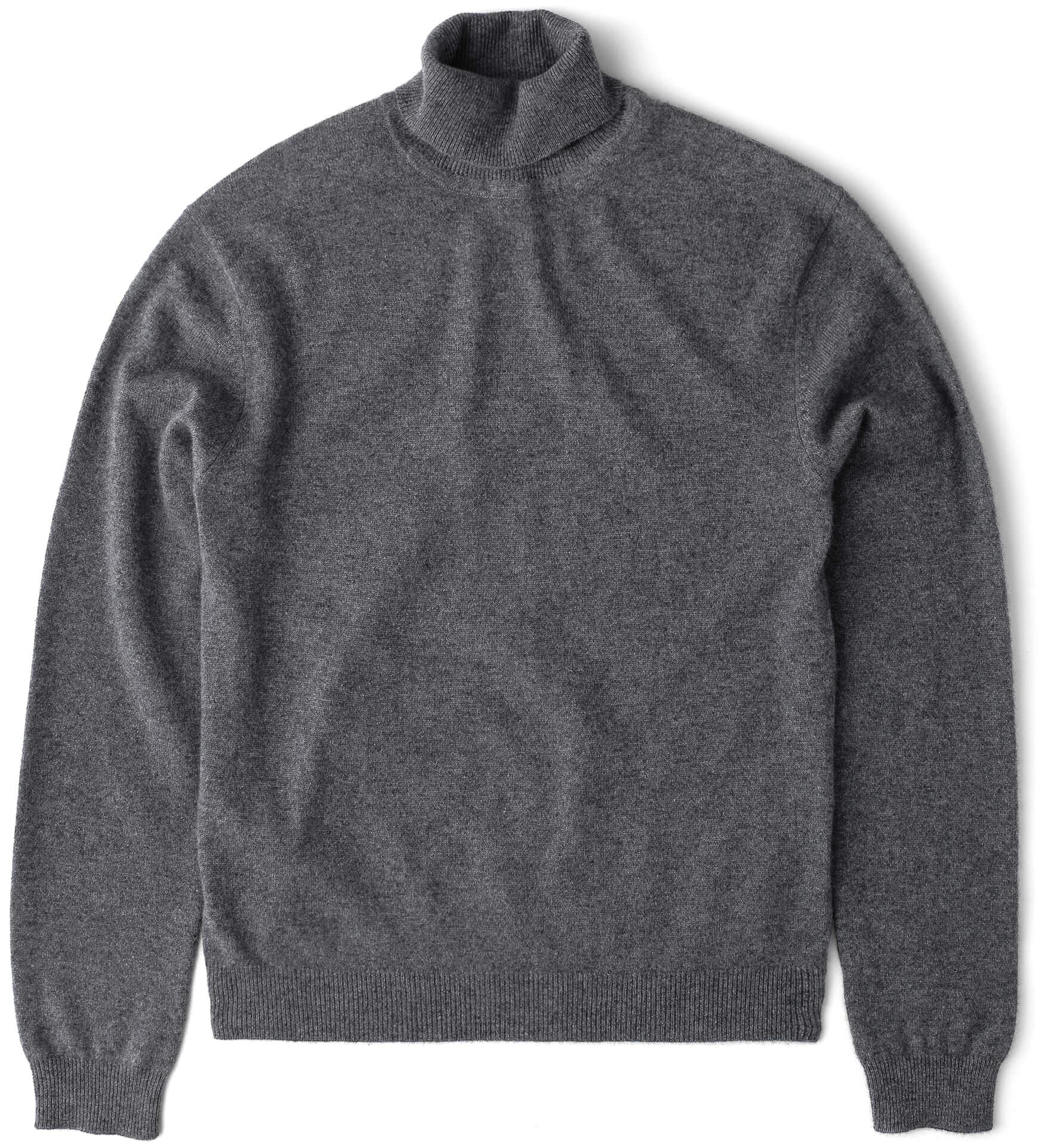 Zoom Image of Grey Cashmere Turtleneck Sweater