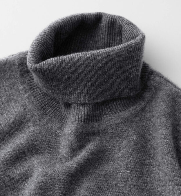 Grey Cashmere Turtleneck Sweater