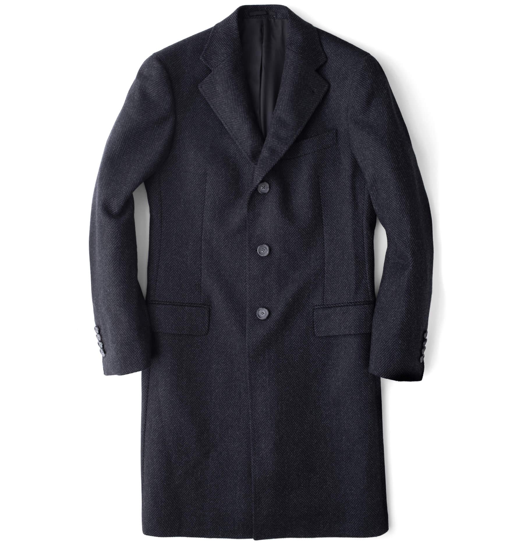 Zoom Image of Bleecker Charcoal Herringbone Wool and Cashmere Coat