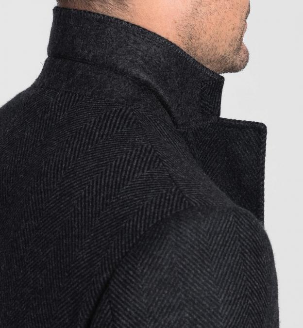 Bleecker Charcoal Herringbone Wool and Cashmere Coat