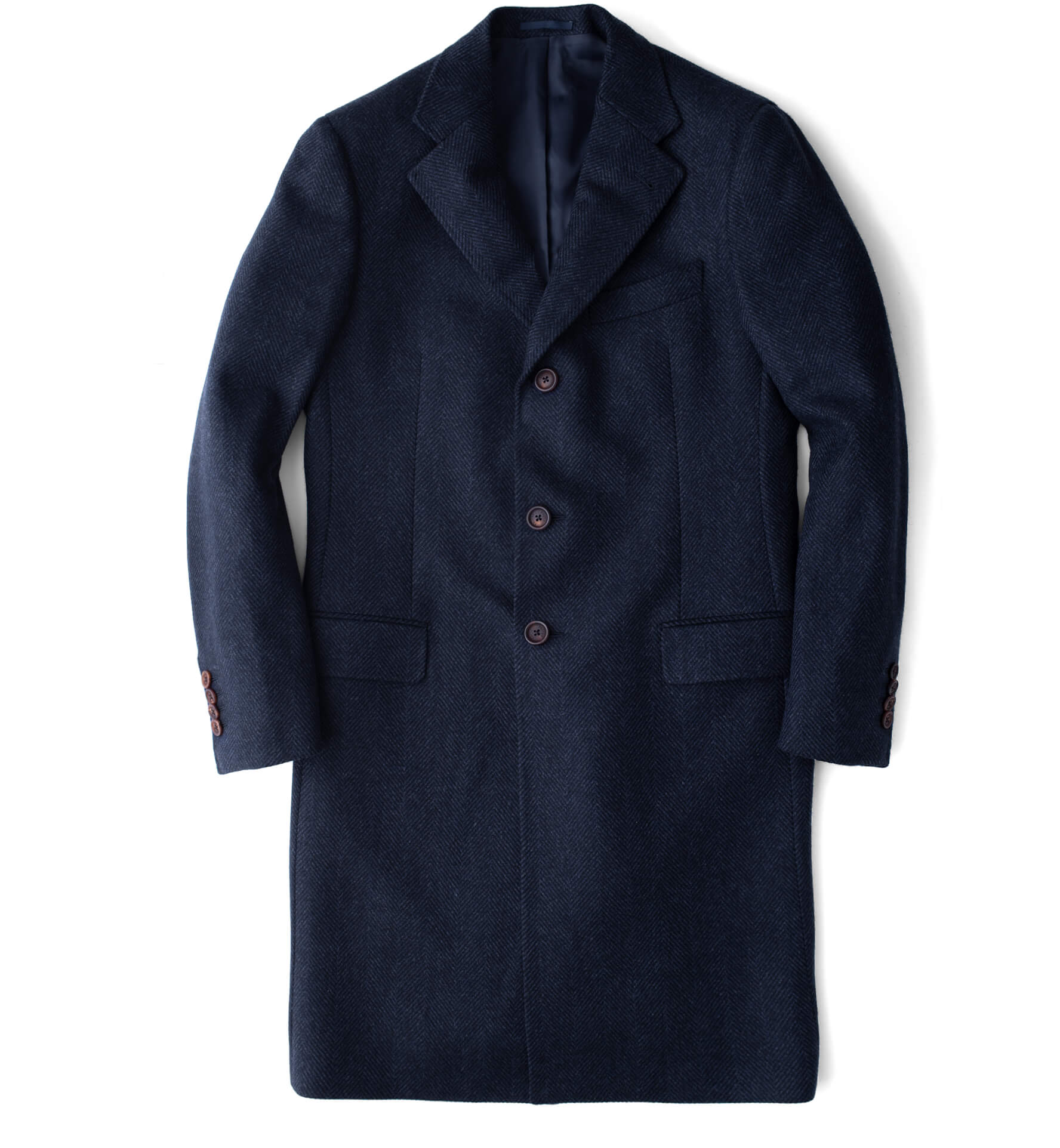 Zoom Image of Bleecker Navy Herringbone Wool and Cashmere Coat
