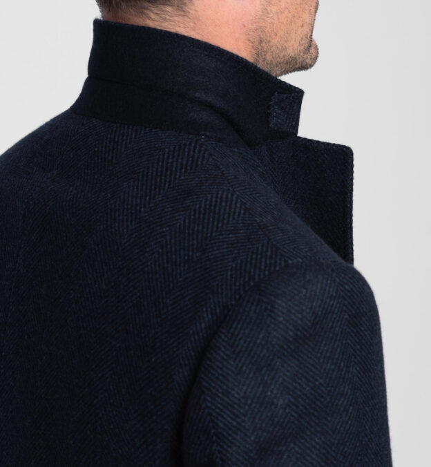 Bleecker Navy Herringbone Wool and Cashmere Coat