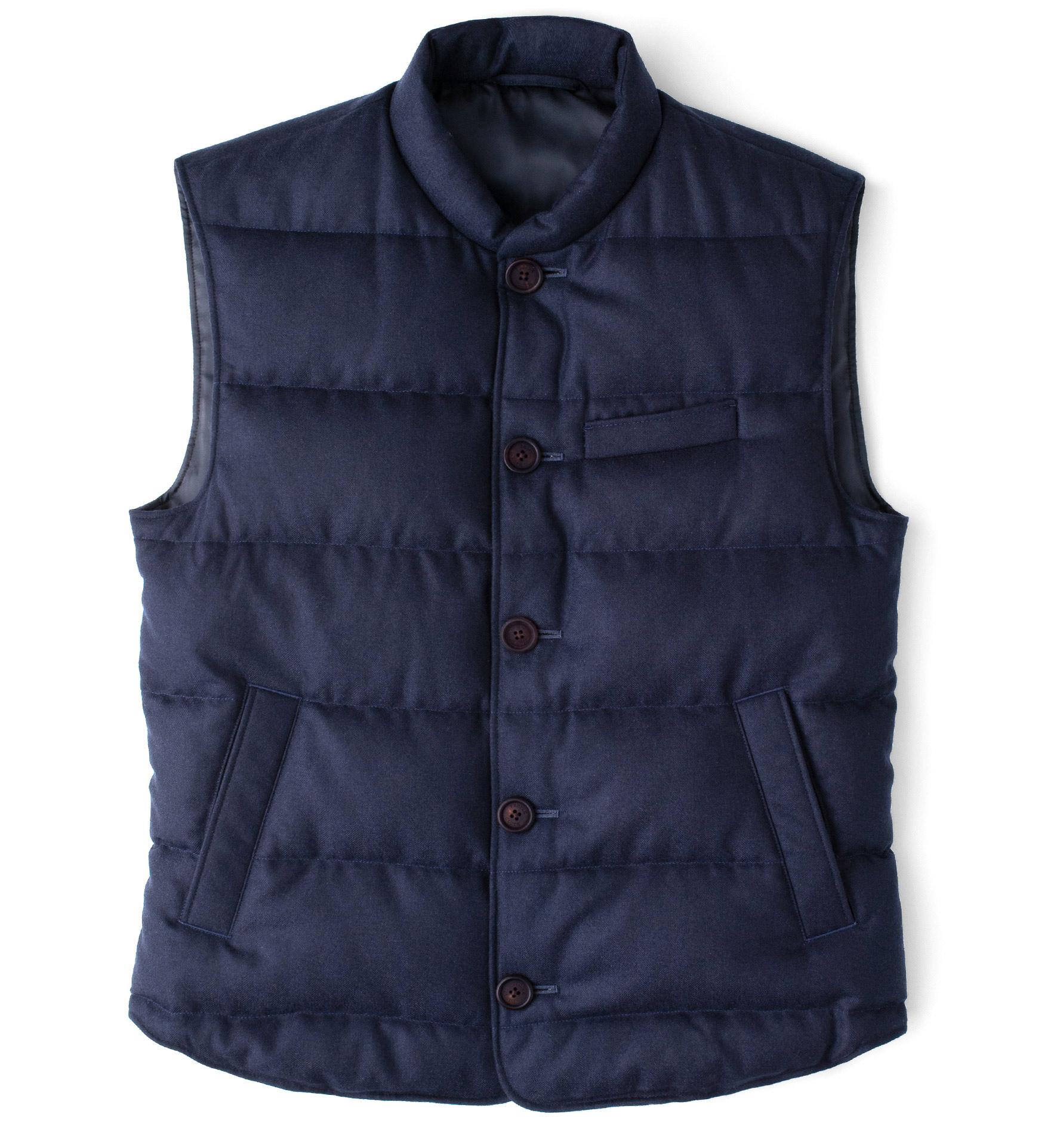 Zoom Image of Cortina II Navy Herringbone Button Vest