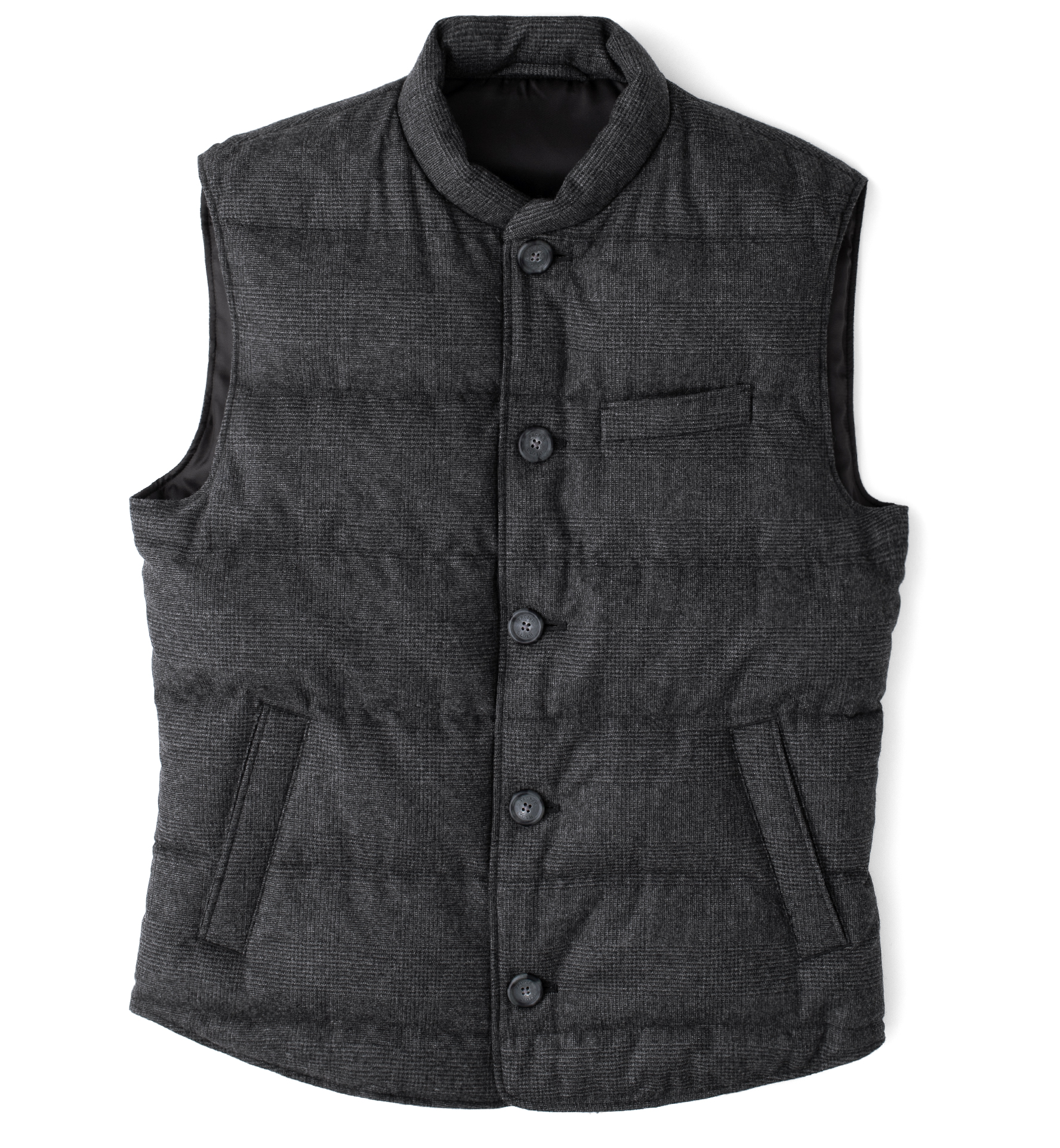 Zoom Image of Cortina II Grey Glen Plaid Button Vest