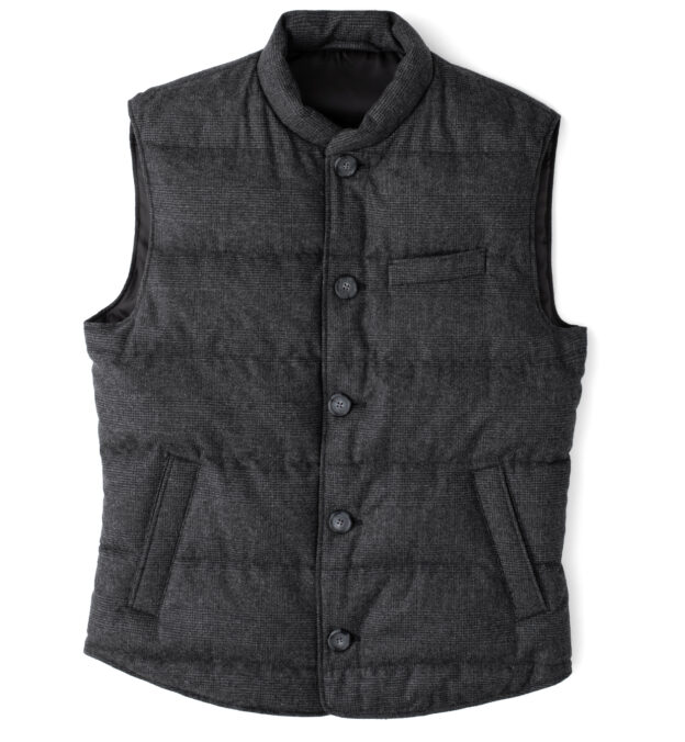 Cortina II Grey Glen Plaid Button Vest