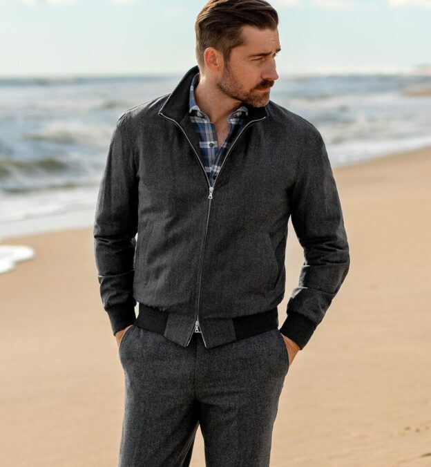 Lucca Grey Wool and Cashmere Flannel Jacket
